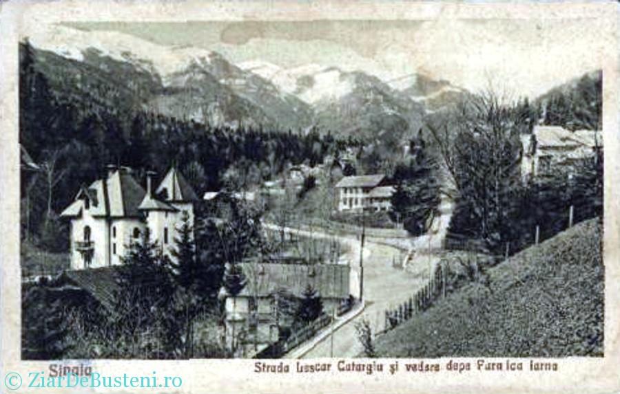 Sinaia - Strada Lascar Catargiu si vedere dupa Furnica, Iarna