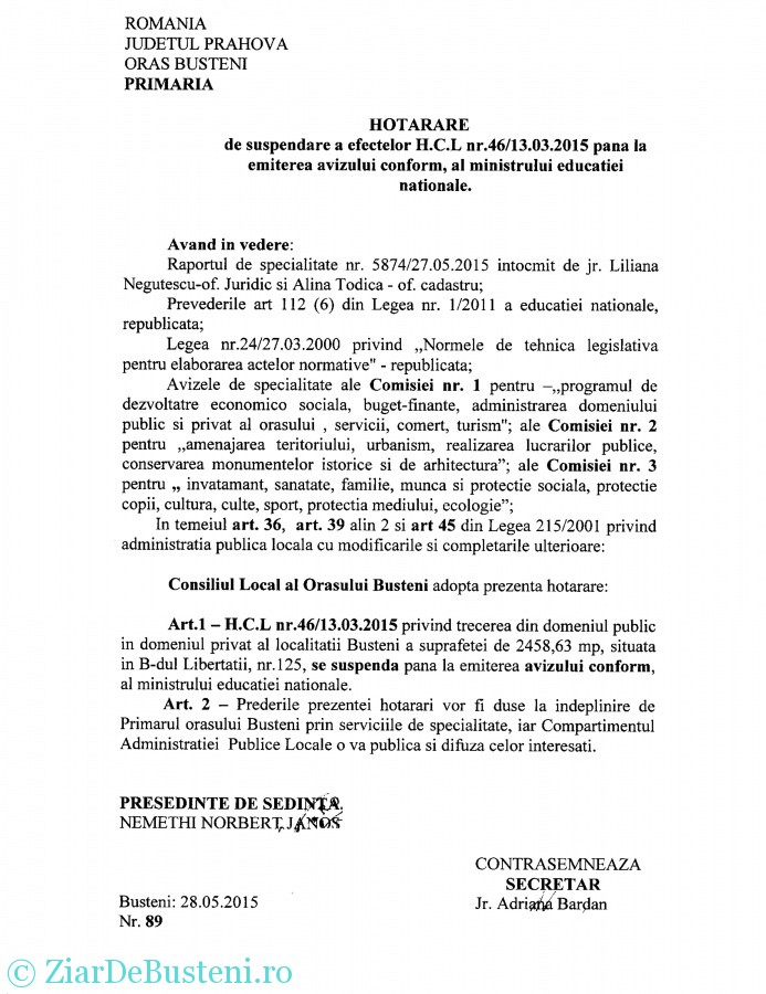 HCL 89 suspendare