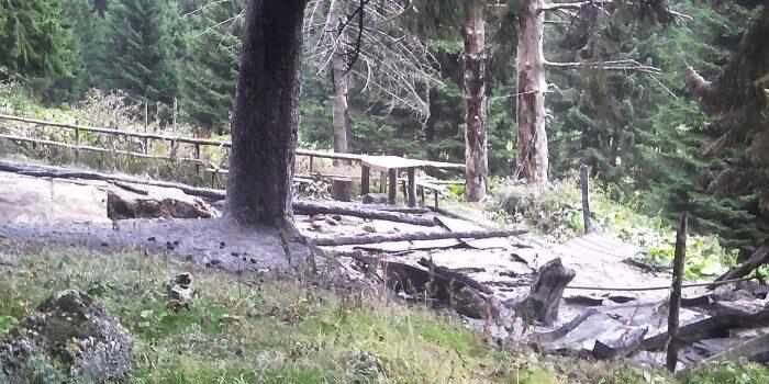 Stâna din Poiana Coștilei mistuită de flăcări
