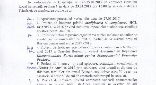Ședință ordinară in 23.02.2017 și Ordinea de zi