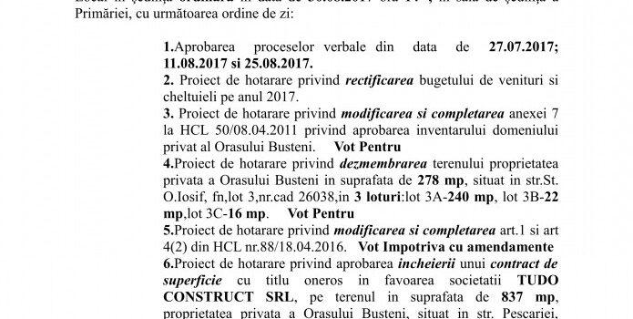 Sedință ordinară a CL Bușteni in 30.08.2017, ordinea de zi și votul