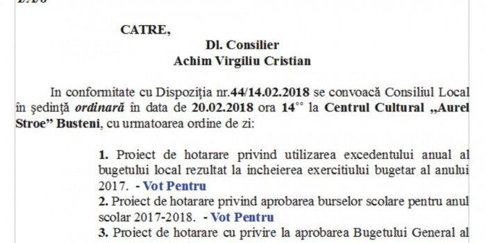 Dezbatere publică Buget Local Bușteni 2018, in 20.02.2018, Ședință publică , ordinea de zi și votul