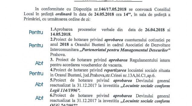 Centru medical la Bușteni, ședință ordinară de CL in 24 mai, ordinea de zi și votul