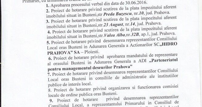 Sedința publică ordinară a CL Bușteni va avea loc in 28.07 – ordinea de zi