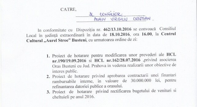 Sedință extraordinară de C.L. la Bușteni – Datoria publică de 30.000.000 lei trebuie aprobată