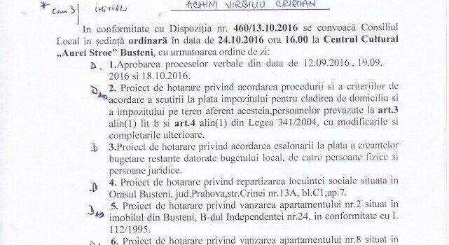 Ședință publică ordinară in 24.10 la Bușteni, ordinea de zi și explicații