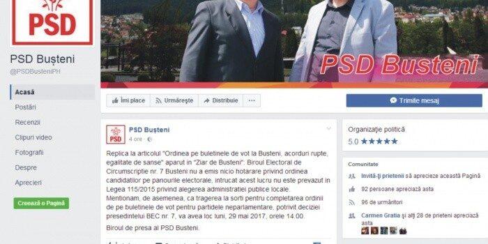 Drept la replică PSD Bușteni la articolul precedent