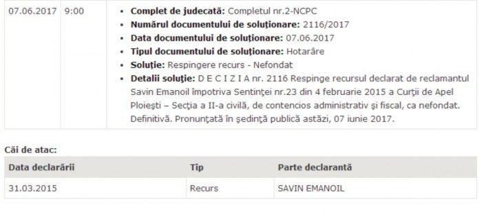 SAVIN va pierde SENATUL ? declarat INCOMPATIBIL in 7 iunie 2017