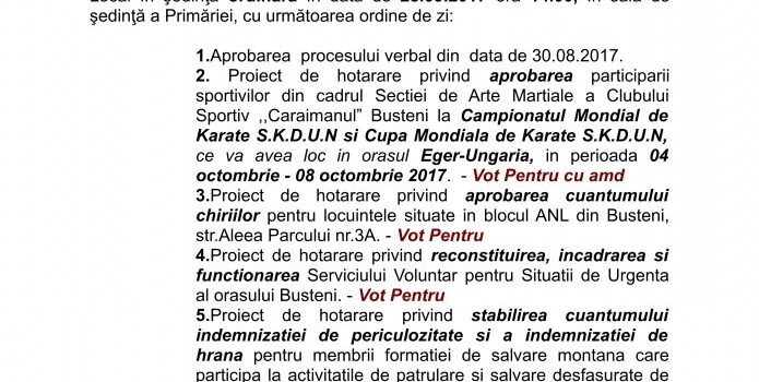 Sedință ordinară a CL Bușteni in 28.09.2017, ordinea de zi și votul