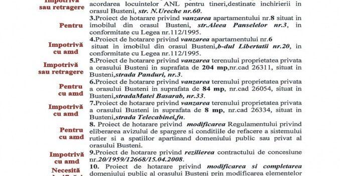 Sedință ordinară a CL Bușteni, cum votez , Blocul ANL are propuneri de proprietari noi