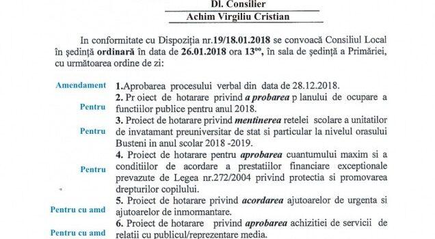 Ședință ordinară a CL Bușteni in 26 ianuarie 2018, ordinea de zi și votul