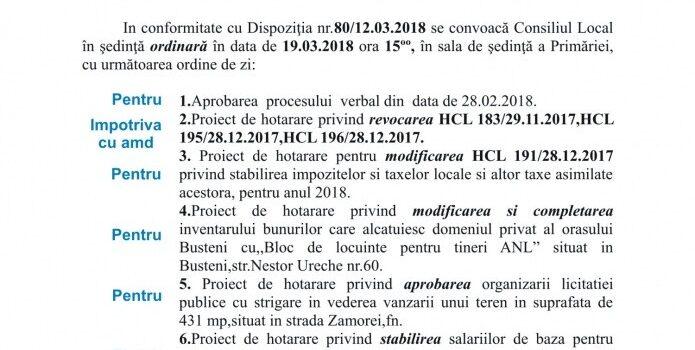 Lista finală ANL, ședință ordinară de CL la Bușteni in 19 martie, ordinea de zi si votul