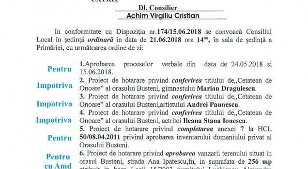 Noi cetățeni de onoare la Bușteni, sedință de C.L. in 21.06.2018, ordinea de zi și votul