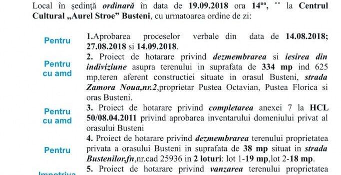 Ședintă ordinara in 19.09.2018, ordinea de zi si votul