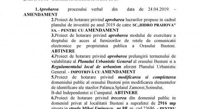 Ședință ordinară in 24.05.2019, ordinea de zi și votul