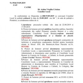 Ședința ordinară a CL Bușteni in 25.09.2019, ordinea de zi și votul