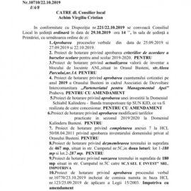 Ședința ordinară a CL Bușteni in 29.10.2019, ordinea de zi și votul