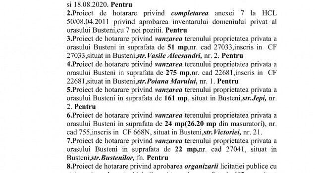 Ședința ordinară a CL Bușteni din 27.08.2020, ordinea de zi, votul
