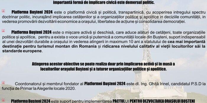 Alegeri locale 2020 – Platforma PSD pentru Bușteni