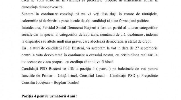 In slujba cetățenilor la Bușteni, candidatul Ghiță Irinel iși asumă mandatul următor cu demisia in alb