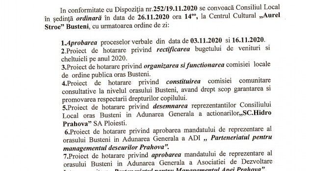 Sedinta CL Busteni 26.11.2020, Raport Curtea de Conturi si scad impozitele si taxele